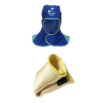 fityle Guantes Protección con casco antiflagrante dedos TIG para soldar capucha escudo térmico