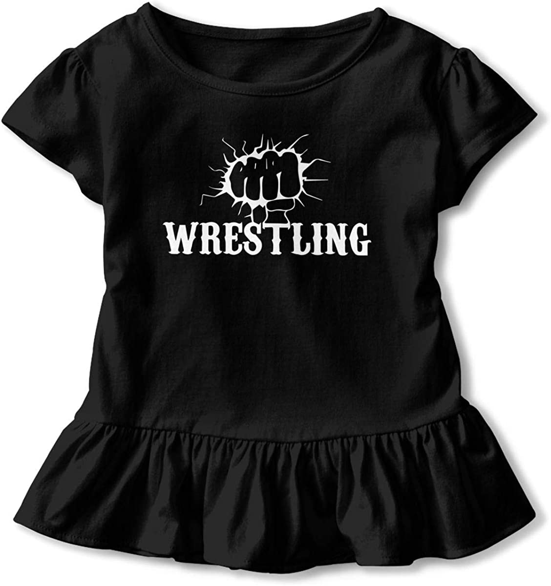 Cheng Jian Bo Funny Fist Wrestling Toddler Girls T Shirt Kids Cotton Short Sleeve Ruffle Tee