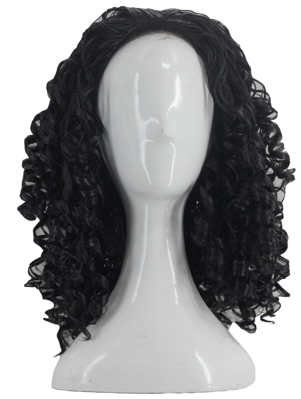 Angelaicos Unisex Wavy Halloween Costume Full Wig Long Dark Brown (Men's Wig) by Angelaicos