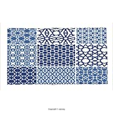 Custom printed Throw Blanket with Arabian Decor Collection Arabesque Islamic Motifs with Geometric Lines Asian Ethnic Muslim Ottoman Element Blue White Super soft and Cozy Fleece Blanket