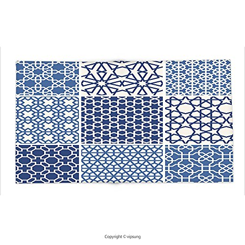 Custom printed Throw Blanket with Arabian Decor Collection Arabesque Islamic Motifs with Geometric Lines Asian Ethnic Muslim Ottoman Element Blue White Super soft and Cozy Fleece Blanket by vipsung