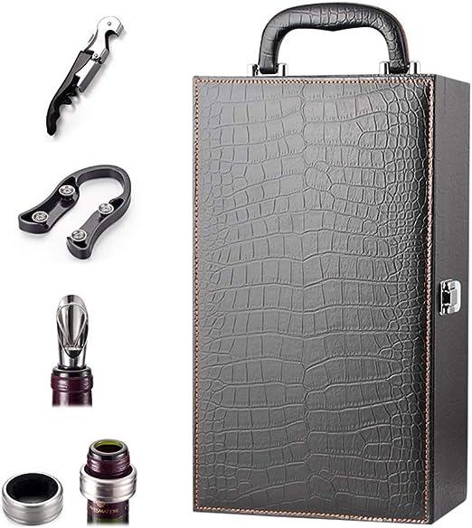 BESTONZON 1 Sets Estuche Portador de Botellas de Vino Doble con Accesorios de Vino Set Black Top Handle Faux Leather Box 750ML: Amazon.es: Hogar