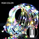 LED String Lights 33ft with 100 LEDs, S&G Battery Operated Fairy String Lights Decorative Copper Wire Starry Lights with Remote Control 8 Modes for Bedroom Wedding, Patio, Parties ( RGB)