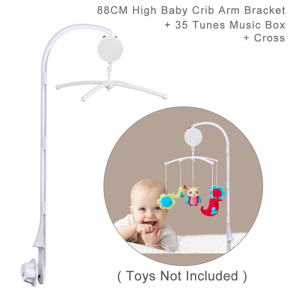 88CM (35) High Baby Crib Bed Bell Toys Holder Arm Bracket, Nut Screw, W/Windup Music Box (Tune: Brahms Lullaby) ColorfulStream