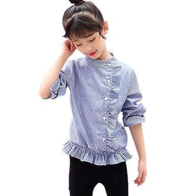 a592d452facd3 YUEGUANG 子供服 女の子 長袖ワイシャツ ドレス用 女児 トップス ブラウス 可愛い 通学 入園式 110