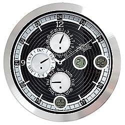16-inch Aluminium Atomic Wall Clock with Calendar, Temperature and Humidity