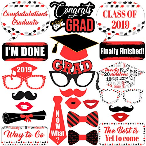 Graduation Photo Booth Props Red - Graduation Decorations 2019 - Graduation Party Supplies 2019 | Photo Booth Props Graduation Party Decorations | Class of 2019 Graduation Photo Props Red and White -
