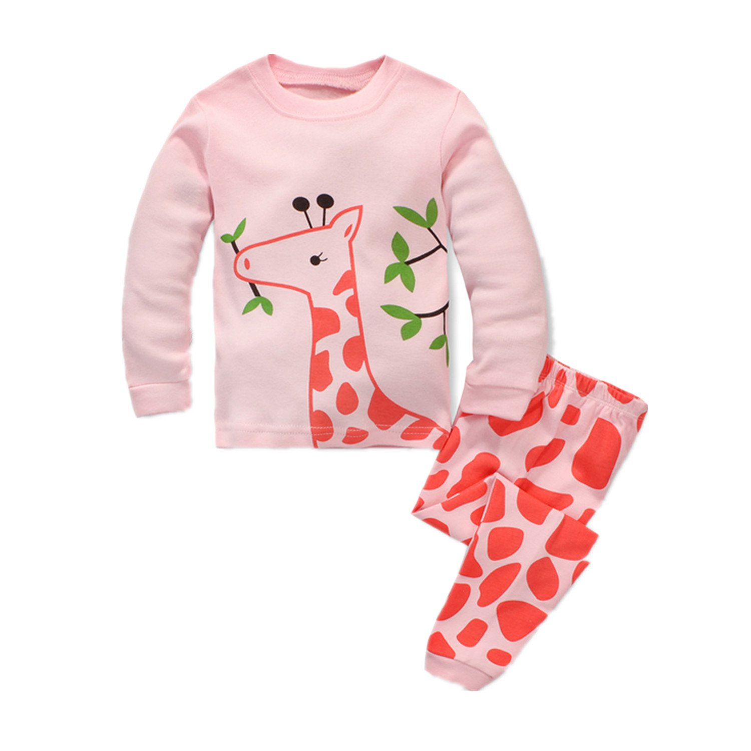 Little Girls Mermaid Pajamas 2 Piece Set 100% Cotton Sleepwear Toddler Clothes for Kids Baby Horse Style PJs Size 2-7T by Popshion (Image #1)