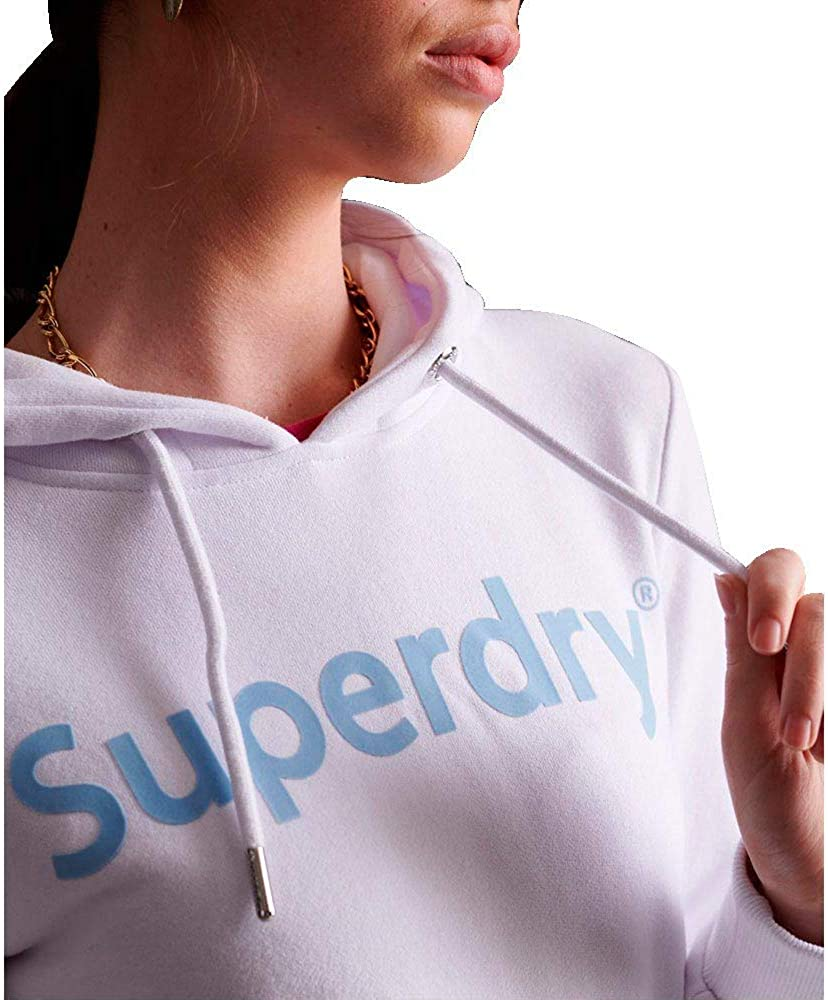 Superdry Damen Reg Flock Entry Hood Ub Kapuzenpullover Weiß (Optic 01c)