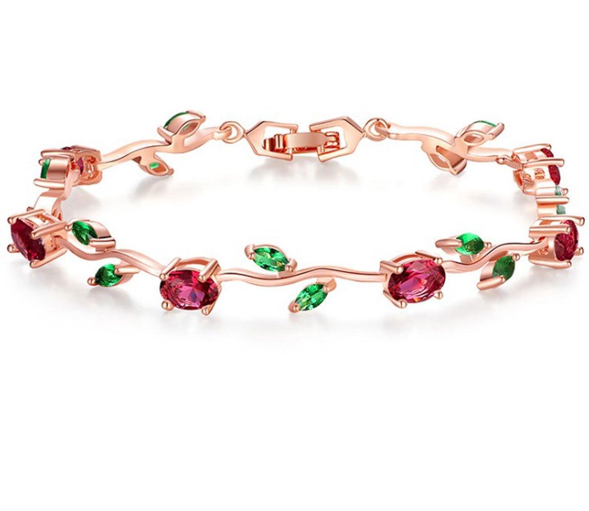 Kintao 18k Rose Gold-Plated Tennis Bracelet, Link Bracelet AAA Cubic Zirconia Gemstone Flower Vine Bracelet for Women Girlfriends
