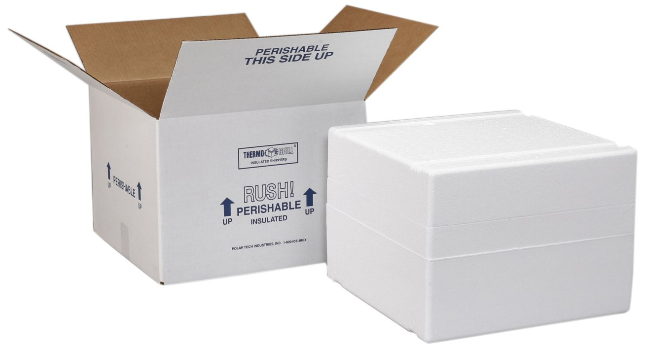 """Polar Tech XM6C Thermo Chill Expand-em Series Insulated Carton with Foam Shipper, Interior Dimension - 12-3/4"""" Length x 12-3/4"""" Width x 12-1/2"""" Depth"""