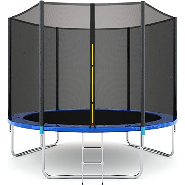 Best Gift for Kids Children Gymax Trampoline Spacious Round Trampoline Combo Bounce Jump with Safety Enclosure Net Jumping Met and Spring Pad Ladder