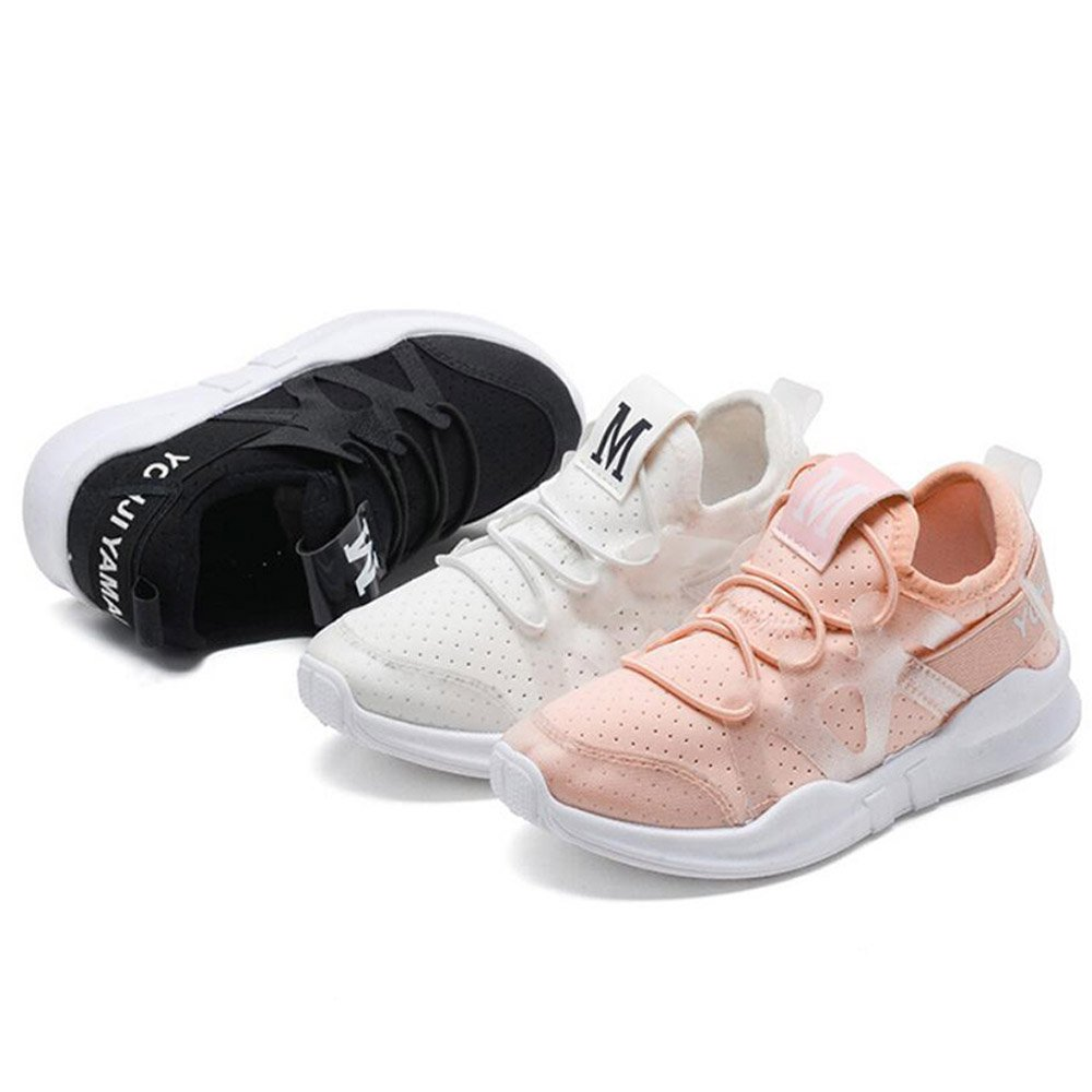 Daclay Children Breathable Shoes Elastic Lycra Cloth Sports Fashionable Running All-Matching Student White Shoes (【33】 US 1.5 (20.3cm), Black) by Daclay (Image #6)
