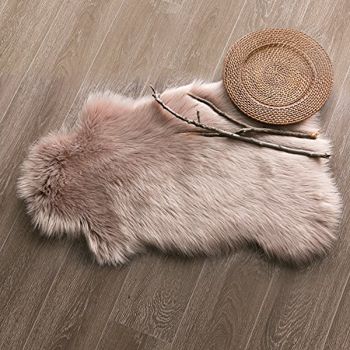 Price comparison product image Ashler Soft Faux Sheepskin Fur Chair Couch Cover Area Rug For Bedroom Floor Sofa Living Room 2 x 3 Feet Beige