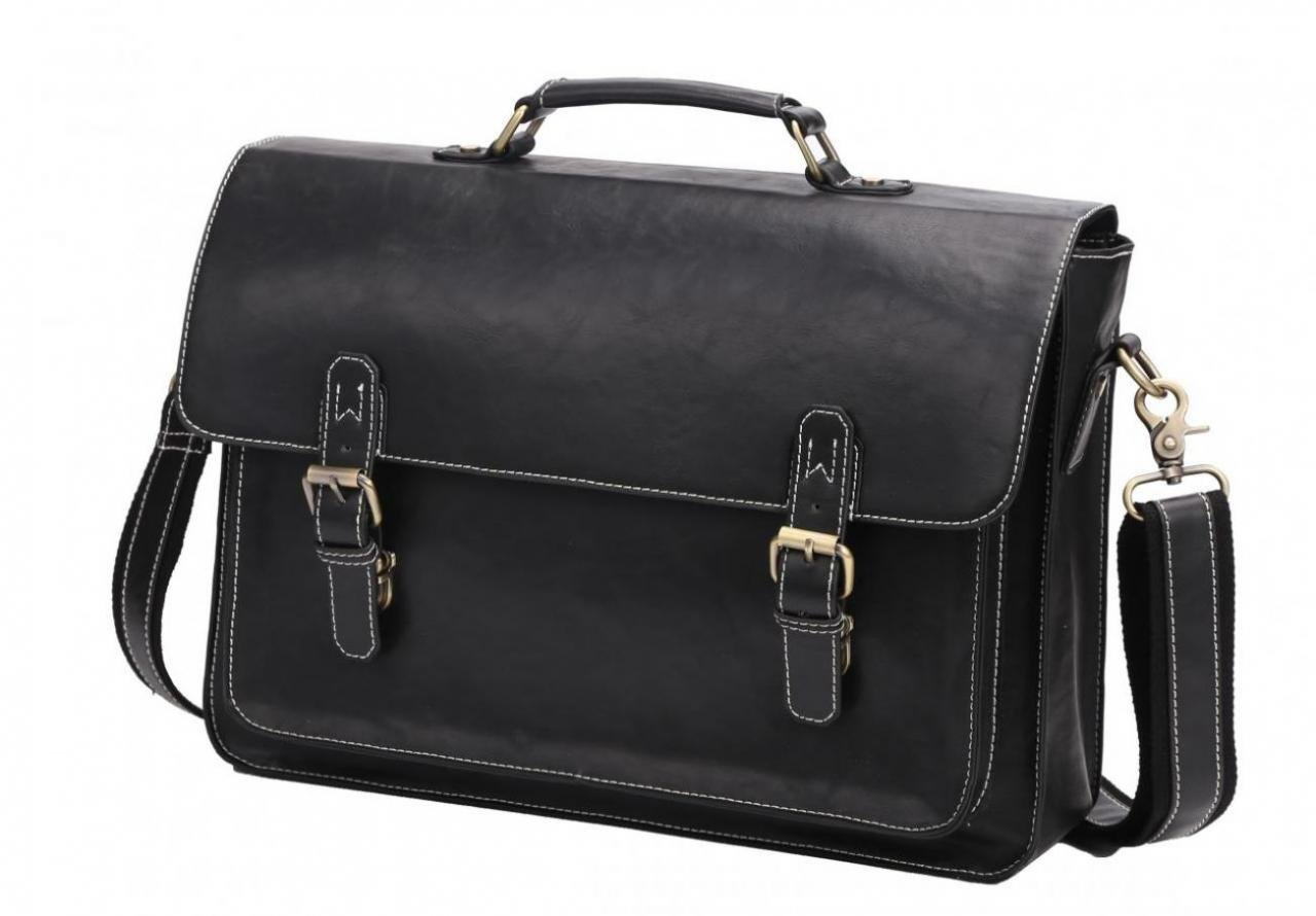 14'' PU Leather Briefcase Business Laptop Messenger Bag With Soft Handle Black