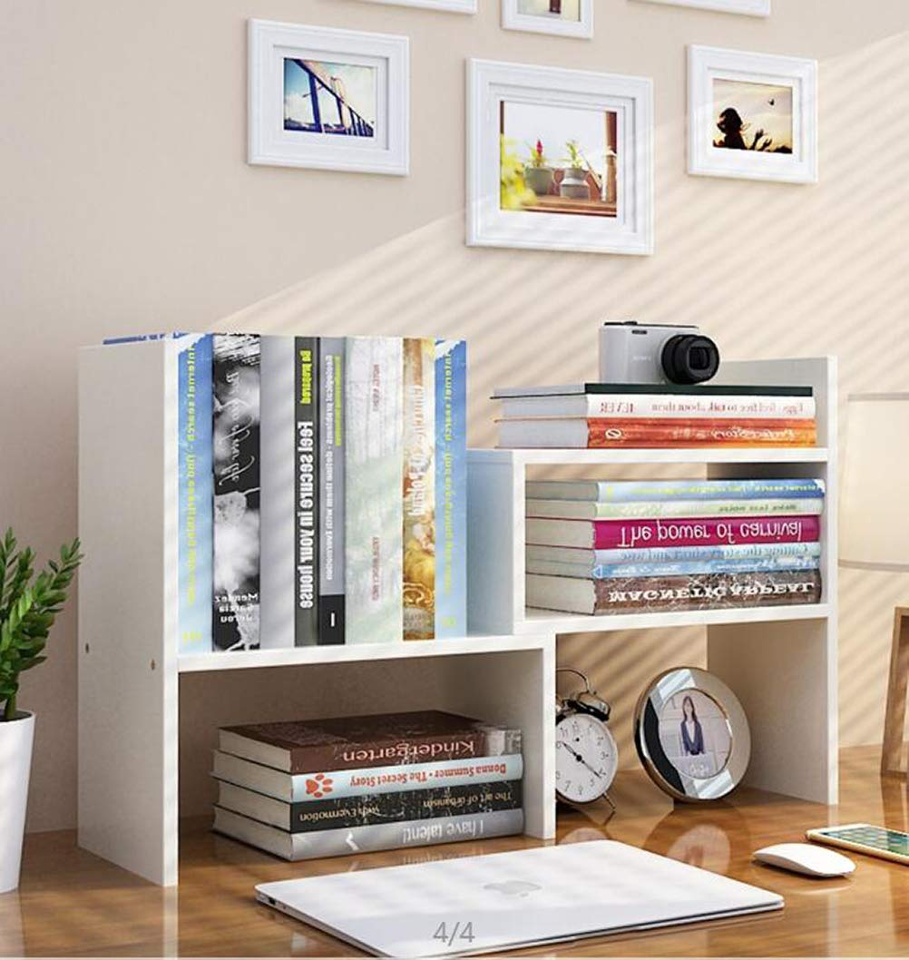 Expandable Wood Desktop Bookshelf Desktop Organizer Office Storage Rack Wood Display Shelf - Free Style Display True Natural Stand Shelf Rack Assembled Bookcase Adjustable Display Rack, White by TILEMALL