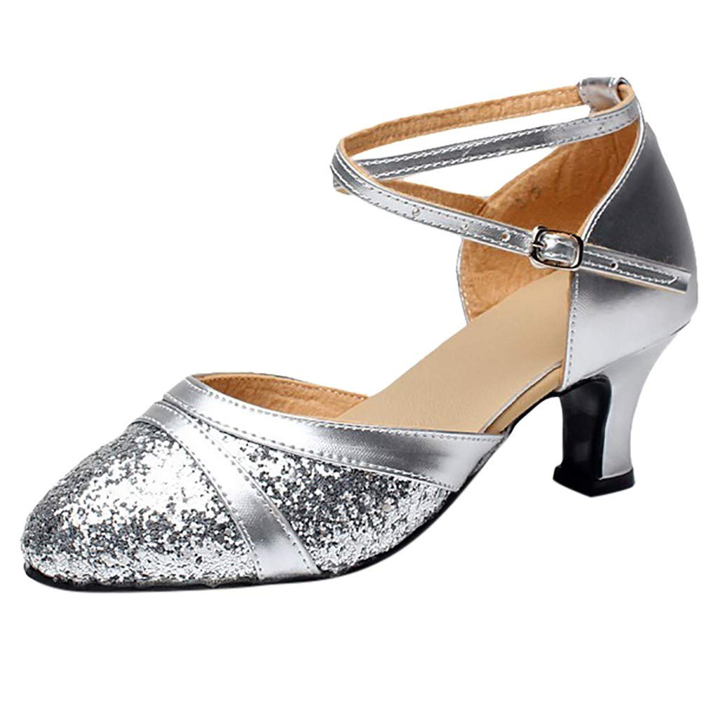 Siswong Womens Ballroom Tango Latin Salsa Pointed Toe Light Weight Dancing Shoes Simple Casual Thick Mid Heel Buckle Strap Lace Up Sequins Shoes Social Dance Shoe