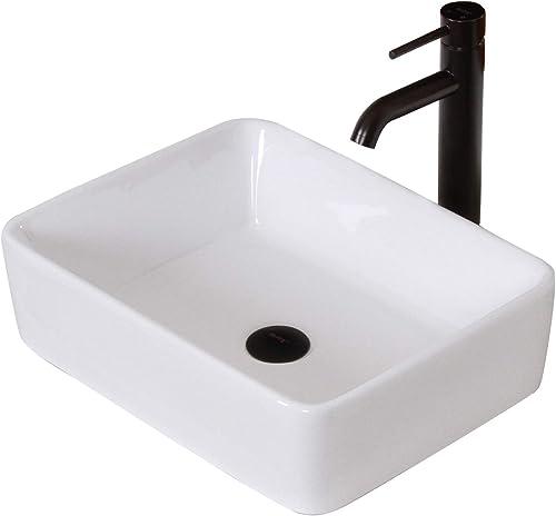 ELITE Bathroom Rectangle White Ceramic Porcelain Vessel Sink Oil Rubbed Bronze Faucet Combo
