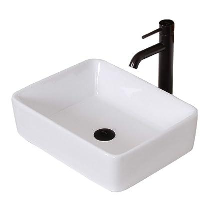 Charmant ELITE Bathroom Rectangle White Ceramic Porcelain Vessel Sink U0026 Oil Rubbed Bronze  Faucet Combo