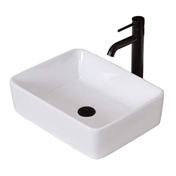 Elite Bathroom Rectangle White Ceramic Porcelain Vessel Sink Oil