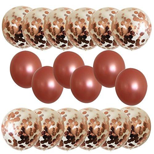 Unicpat Real Rose Gold Balloons Set (18pcs): Premium Quality 18''Confetti & Latex Metallic Pink Balloons, Clear Glitter Polka Dot for Bridal &Baby Shower, Bachelorette, Birthday, Wedding Parties