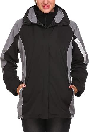 Guteer Women Waterproof Rain Jackets Outdoor Jacket Hood Softshell Coat Hiking
