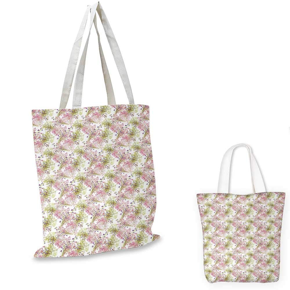 14x16-11 Romantic canvas messenger bag Flower Pattern with Fresh Foliage Leaves and Petals Watercolor Style Illustration canvas beach bag Multicolor