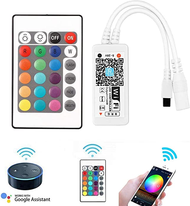 WOWLED WiFi Wireless Smart LED Controller, Mini RGB LED Strip Light 24 Keys IR Remote Controller, Alexa Magic Google Home Smartphone App Control with iOS Android System, Timer Voice Music Wifi Control