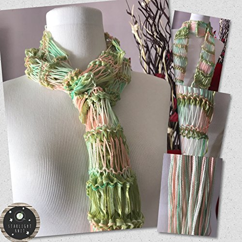 Hand Knit Hand Crafted Ladies Fashion Accessory Scarf in Light Greens accented with creams and peaches