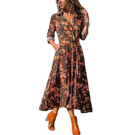 Vestido Elegante para Mujer,Vestido de Manga Larga Estampado Dobladillo Absolute