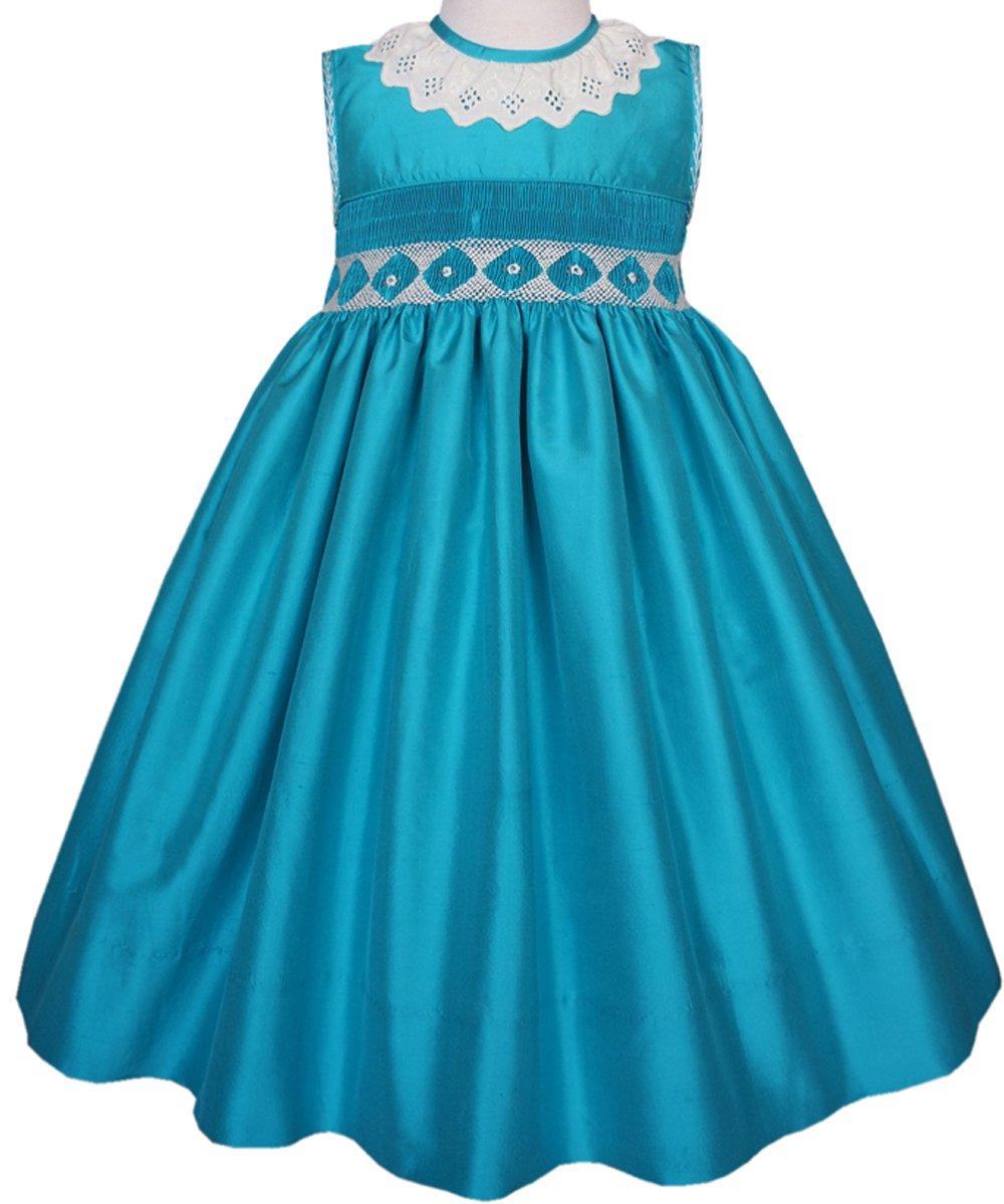 Hand Smocked Turquoise Silk Sleeveless Flower Girl dress or Pageant