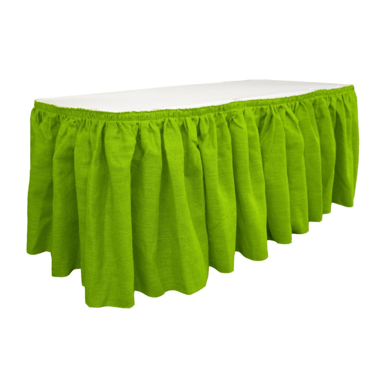 LA Linen SkirtBurlap17x29-10Lclips-Lime Burlap Table Skirt with 10 L-Clips44; Lime - 17 ft. x 29 in.