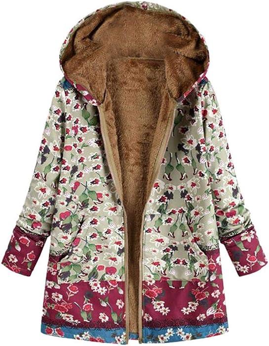 QUICKLYLY Abrigo Invierno Mujer Chaqueta Suéter Jersey Mujer Cardigan Mujer Tallas Grandes Outwear Floral Bolsillos con