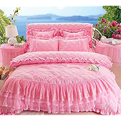 Lotus Karen Pink Quilted Princess Bedding Set Romantic Lace Ruffles Quilting Heart Shape Bedspread Coverlet Set for Girls Including 1Duvet Cover,1Bedskirt,2Pillowcases: Home & Kitchen
