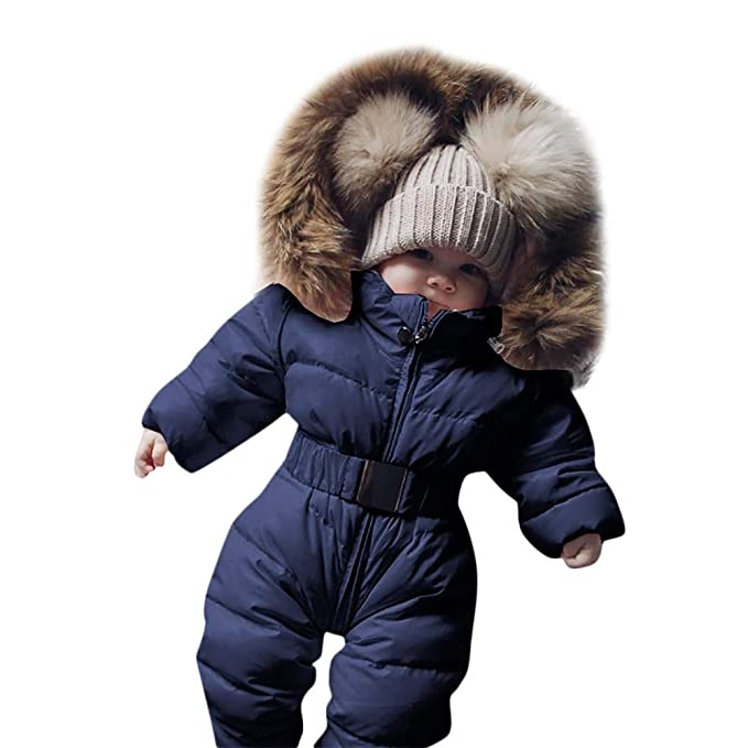 f37f53ec5 Clearance Toddler Infant Girls Boys Winter Warm Hooded Jumpsuit Thick Coat  Romper Jacket Outfit with Belt