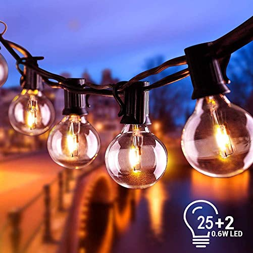 25Ft Globe Led String Lights Waterproof Shatterproof, Connectable Hanging Patio String Lights with 25 LED Plastic Clear Bulbs, Outdoor Indoor Lights for Room Caf Bistro Pergola Tents, Black Wire