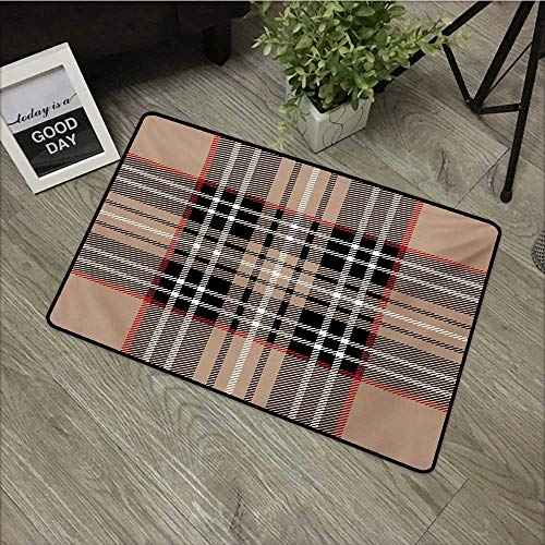 (Corridor Door mat W35 x L59 INCH Checkered,Classical Tartan in British Style Design Geometric Ornament Striped,Pale Brown Orange White Non-Slip Door Mat Carpet)