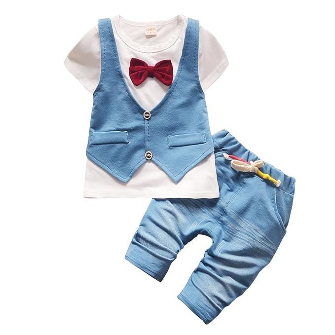 316317a0900e Amazon.com  Baby Boy Jeans Set Denim Outfit Cotton Short Sleeve ...