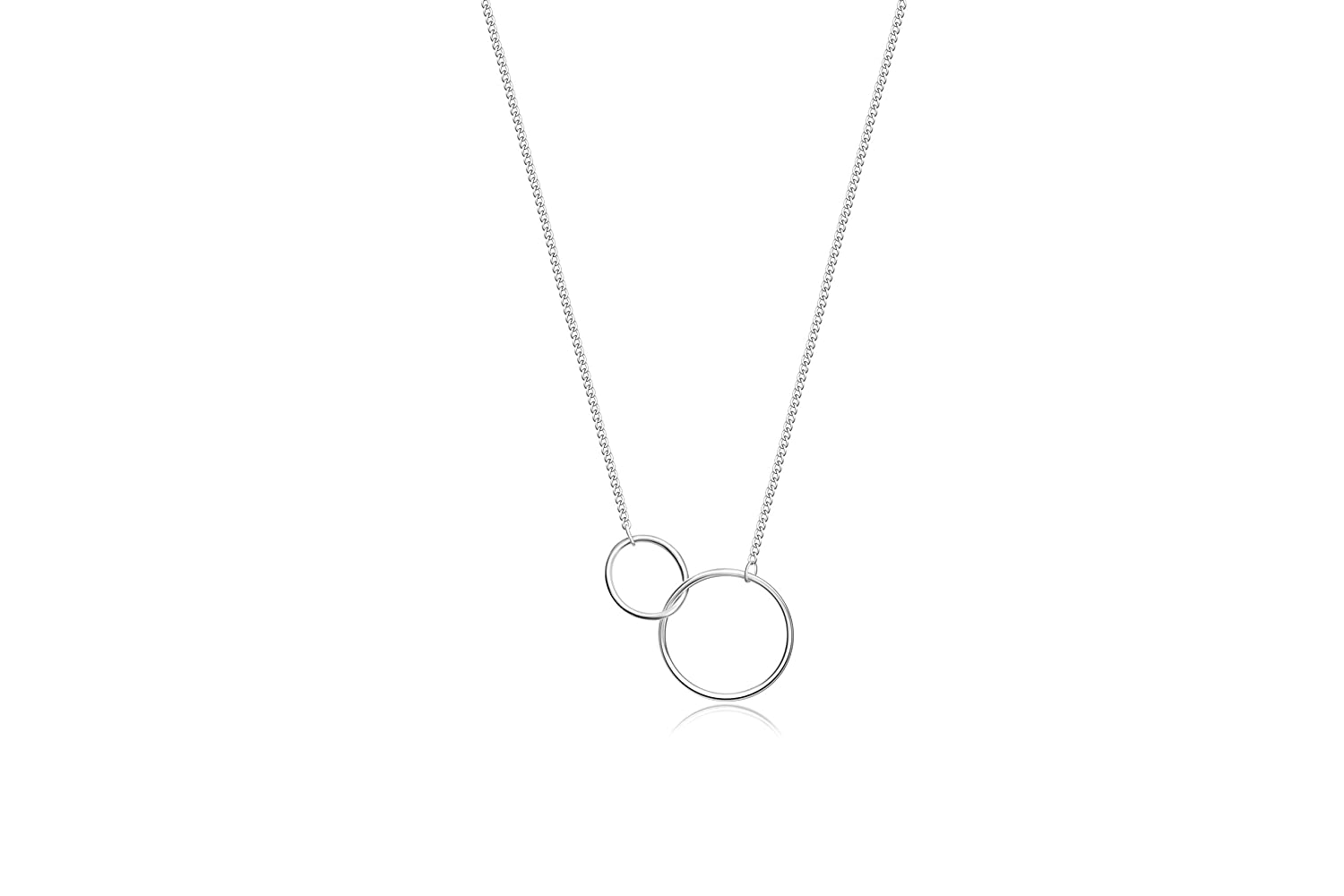 JUPITSON Sister Necklace 925 Sterling Silver Interlocking Circles Necklace