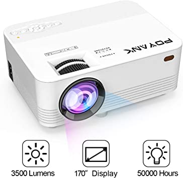 Wide.ling LED Projector 1080P Mini Home Theater Cinema Portable Video Multimedia Compatible with TV Stick//HDMI//VGA//USB//TV Box//Laptop//DVD//PS4 for Home Entertainment Black, One Size