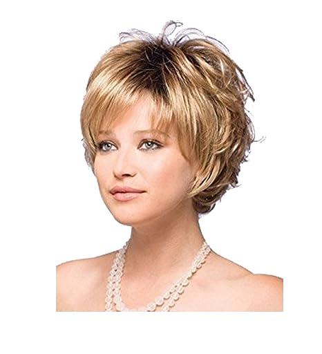 Royalfirst Peluca para mujer, peluca corta de pelo dorado, peluca ...