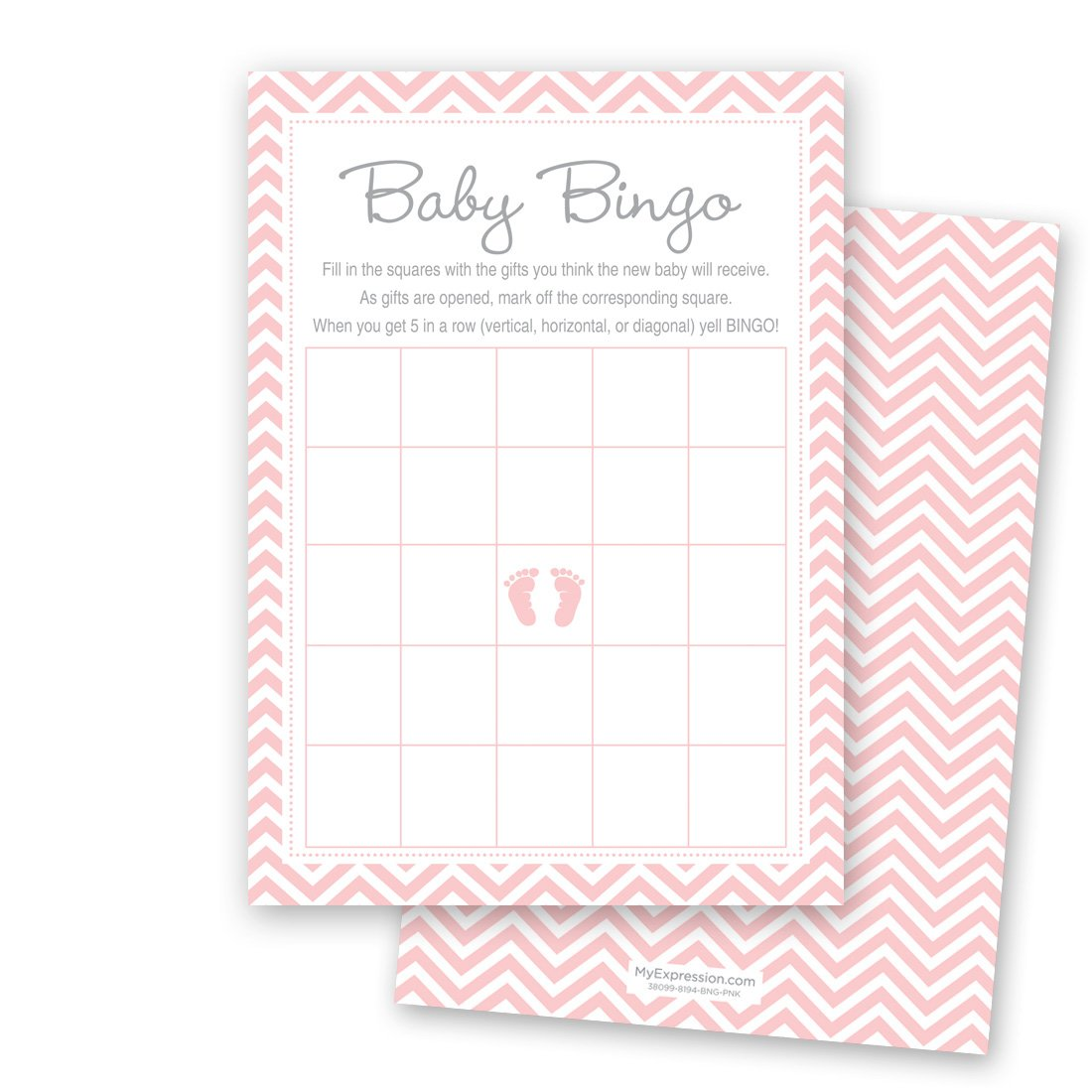 MyExpression.com 24 Cnt Pink Baby Feet Footprint Baby Bingo Cards by MyExpression.com