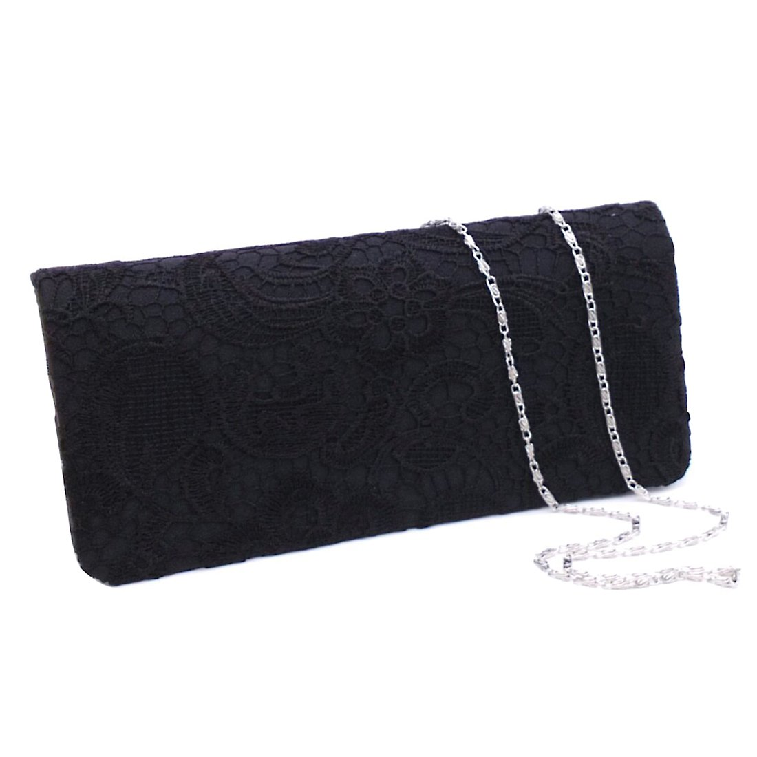 Silk Floral Flowers Clutch Evening Bag Elegant Purse Handbag for Cocktail Prom Wedding Party (Black)