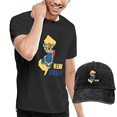 2293e874a Amazon.com: Flag Map of New Jersey Mens Cotton Crew Neck Short-Sleeve  Tshirt Tees and Denim Hat Combo Set: Clothing
