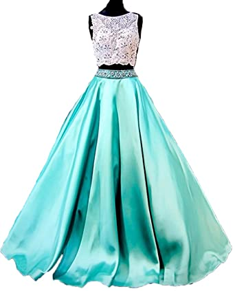 BessDress Lace Beads Ball Gown Two Piece Prom Dresses Open Back Evening Dresses BD234