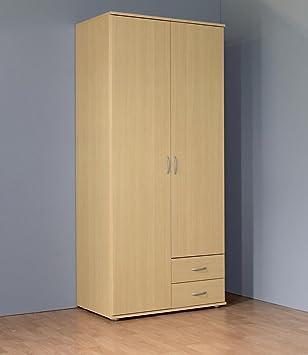 Kleiderschrank 2 Turig Mit 2 Schubladen Buche Dekor Amazon