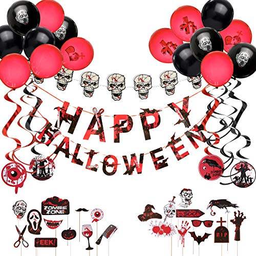 Halloween Decorations, ARTISTORE Halloween Party Supplies, Happy Halloween Banner, Black and Red Balloons, Hanging Swirls, Skull String with Lights, 22Pcs Decorations Props for Kids Indoor Cute -