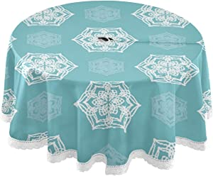 xigua Indoor Outdoor Spillproof Round Tablecloth Waterproof with Zipper Umbrella Hole Patio Table Cloths,Backyard Parties Spring/Summer Picnic BBQs - White Lotus
