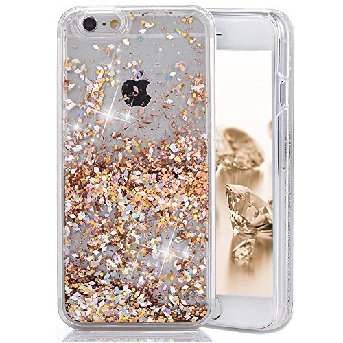 iPhone 6 Case, iPhone 6S Case, Crazy Panda 3D Creative Luxury Bling Glitter Sparkle Liquid Case Infused with Glitter and Stars Moving Quicksand Hard Case For Iphone 6/Iphone 6S - Light Gold Diamonds