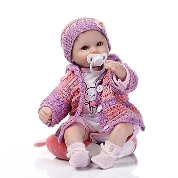 ee7a706782002 Decdeal Poupée Bébé Reborn en Silicone Bébé Poupée Yeux Ouverts avec des  Vêtements Cheveux 16 Pouces
